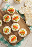 Salmon and Cracker Hor D'oeuvres. With Chives and Sour Cream Royalty Free Stock Images