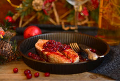 Salmon with cranberries Stock Images
