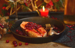 Salmon with cranberries Royalty Free Stock Photography