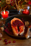 Salmon with cranberries Stock Photo