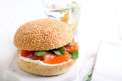 Salmon and cream bun sandwich Stock Image