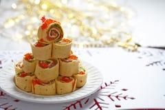 Salmon, Cream Cheese And Iceberg Lettuce Pinwheels Stock Photography