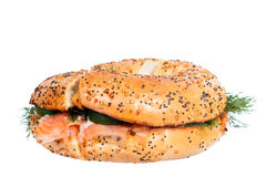 Salmon cream cheese bagel isolated Royalty Free Stock Photos