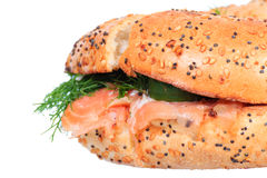 Salmon cream cheese bagel isolated Stock Photo