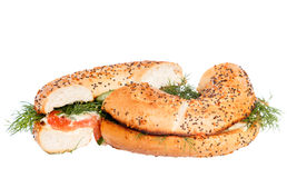 Salmon cream cheese bagel isolated Stock Images