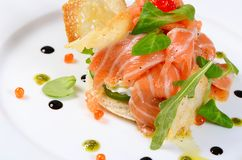 Salmon with cream cheese Royalty Free Stock Images