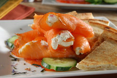 Salmon and cream cheese Royalty Free Stock Photo