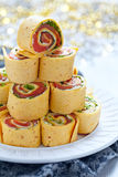 Salmon, cream cheese and iceberg lettuce pinwheels Royalty Free Stock Image