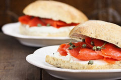Salmon and Cream Cheese Sandwich Royalty Free Stock Photography