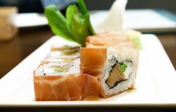 Salmon cream cheese sushi Stock Photos