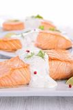 Salmon with cream and dill Stock Photography