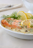 Salmon with cream and lemon sauce Royalty Free Stock Image