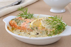 Salmon with cream and lemon sauce Royalty Free Stock Photos