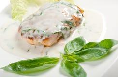 Salmon in cream sauce Stock Photo