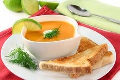 Salmon cream soup Stock Photo