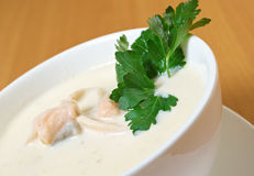 Salmon cream soup Royalty Free Stock Photography