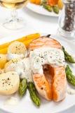 Salmon with creamy asparagus sauce stock image