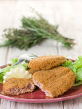 Salmon croquettes with  salad Royalty Free Stock Photos