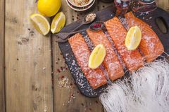 Salmon and crystal noodles. Preparing Thai food. Tasty and healthy. Healthy Eating.  Stock Photography
