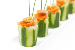 Salmon and cucumber appetizer Stock Photo