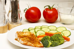 Salmon Cucumber and Broccoli on Plate Royalty Free Stock Photos