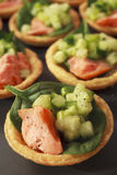 Salmon Cucumber Tarts Finger Food Buffet Stock Images