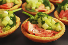 Salmon Cucumber Tarts Finger Food Buffet Royalty Free Stock Photos