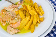 Salmon with curry sauce Royalty Free Stock Photography