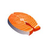 Salmon Cutlet. Raw Salmon Cutlet Vector and Icon Stock Images