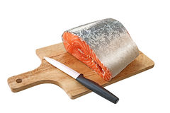 Salmon on a cutting board Royalty Free Stock Image
