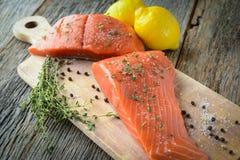 Salmon on a Cutting Board Stock Photos