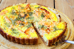 Salmon and dill quiche Royalty Free Stock Images