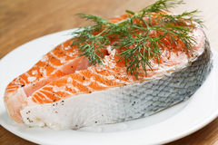 Salmon with dill and sea salt Royalty Free Stock Images
