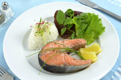 Salmon dinner. Poached sockeye salmon steak with rice and fresh greens Stock Photo