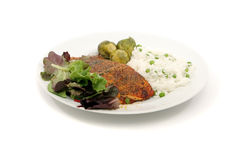 Salmon dinner Stock Photo
