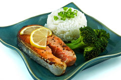 Salmon dinner Stock Images