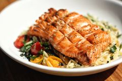 Grilled Salmon Dinner Stock Photos