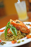 Salmon dinner with pasta Royalty Free Stock Photo