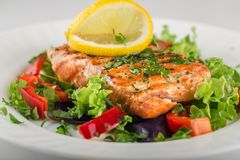 Salmon Dinner. Salmon salad dinner grilled steak plate lemon stock image