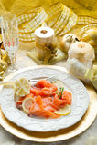 Salmon on dish Stock Photography