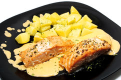 Salmon dish. Salmon baked dish with potatoes and sauce royalty free stock photography