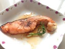 Salmon on dish royalty free stock photography