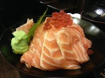 Salmon don with ikura, Japanese food, Japan Royalty Free Stock Photos