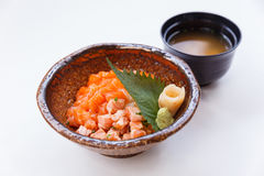 Salmon Donburi : Raw and Cooked Well Diced Salmon and Ebiko with Japanese Steamed Rice. Served with Miso Soup.  Royalty Free Stock Photo