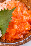 Salmon Donburi : Raw and Cooked Well Diced Salmon and Ebiko with Japanese Steamed Rice. Served with Miso Soup.  Stock Photo