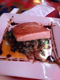 Salmon. Eating out at Zutto Japanese Cafe in Manhattan, NY Royalty Free Stock Photography