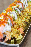 Salmon eel and cream cheese sushi roll Royalty Free Stock Photos