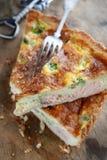 Salmon and egg pie Stock Photos