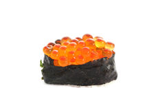 Salmon egg on sushi nigiri roll Stock Image