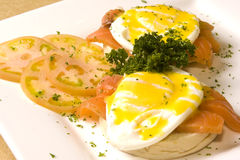 Salmon and eggs. A plate of salmon and eggs royalty free stock images